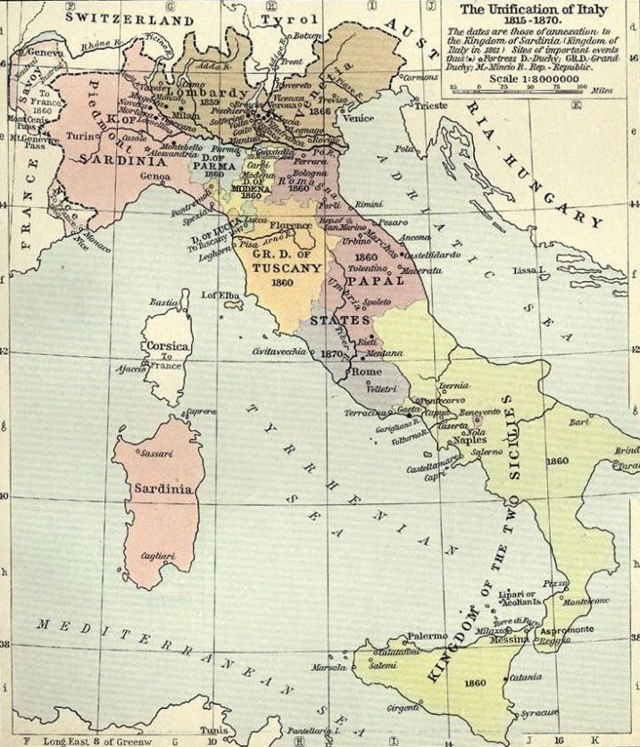 Map of unification of Italy, 1815-70