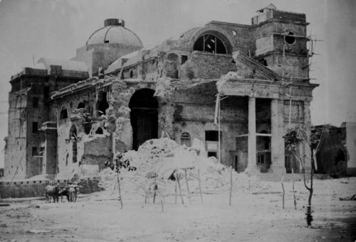 Church Nuestra Señora del  Rosario  and San Benito of Palermo after the bombardment in 1865